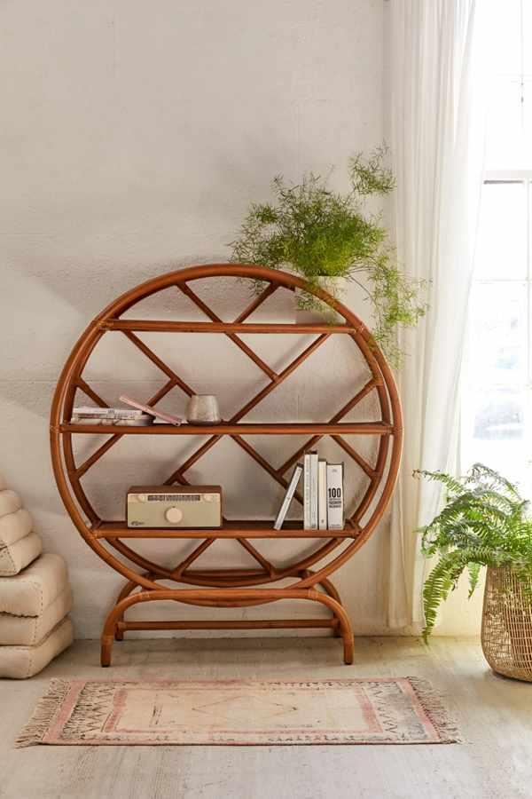 rattan, regal, interior, einrichtung, wohnzimmer, natürlich wohnen, buchregal, naturtöne, bohemian, neutral bohemian
